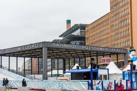 Berlin Bahnhof Potsdamer Platz , S-bahn train station in the downtown Berlin, It is one of the central station of the Berlin underground metro system.
