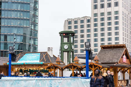 Christmas market  at Berlin Bahnhof Potsdamer Platz , S-bahn train station in the downtown Berlin, It is one of the central station of the Berlin underground metro system. Editöryel