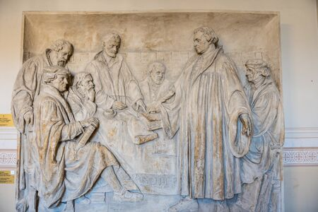 Bas-relief representing Martin Luther on the wall inside of the Berlin Cathedral, Evangelical Supreme Parish and Collegiate Church in Berlin, Germany.