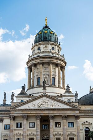 German Church in Berlin, one of three major buildings at Gendarmenmarkt square in the Mitte district. It holds an exhibition on parliamentary democracy in Germany.