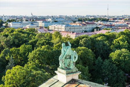 Cityscape of old town of Saint Petersburg, Aerial view from Saint Isaacs Cathedral (or Isaakievskiy Sobor), in Saint Petersburg, Russia. Stockfoto