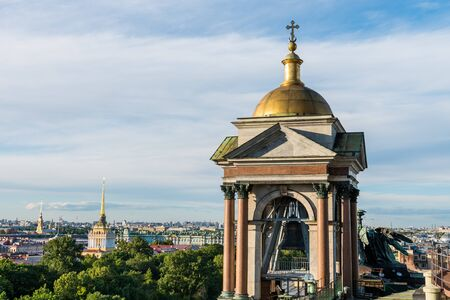 A belfry of Saint Isaacs Cathedral (or Isaakievskiy Sobor), a monuments of Russian architecture,near Nevsky Avenue and the Hermitage Museum in Saint Petersburg, Russia.