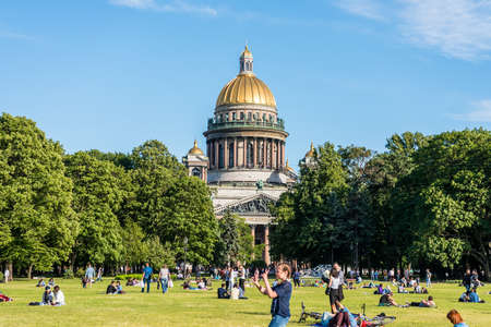 Saint Isaac's Cathedral (or Isaakievskiy Sobor), one of the most important neoclassical monuments of Russian architecture,near Nevsky Avenue and the Hermitage Museum in Saint Petersburg, Russia.