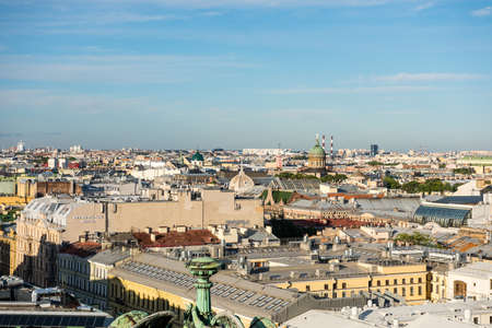 Cityscape of old town of Saint Petersburg, Aerial view from Saint Isaac's Cathedral (or Isaakievskiy Sobor), in Saint Petersburg, Russia.