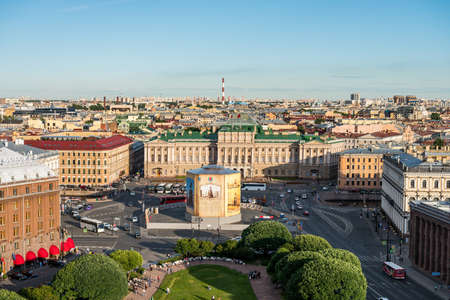 Cityscape of old town of Saint Petersburg, Aerial view from Saint Isaacs Cathedral (or Isaakievskiy Sobor), in Saint Petersburg, Russia. Editoriali