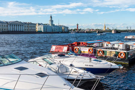 Yachts parking at the port of  Bolshaya Neva River, the largest armlet of the river Neva in St Petersburg, Russia. Editoriali