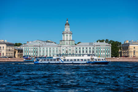 Building of Kunstkammer (Museum of Anthropology and Ethnography) at the riverbank of Neva River, St. Petersburg, Russia.