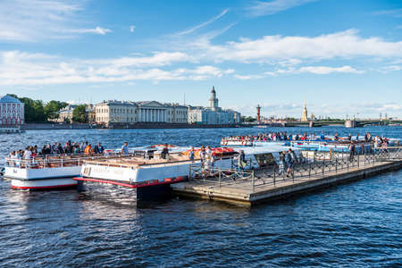 Yachts parking at the port of  Bolshaya Neva River, the largest armlet of the river Neva in St Petersburg, Russia. Editöryel