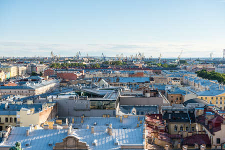 Cityscape of old town of Saint Petersburg, Aerial view from Saint Isaacs Cathedral (or Isaakievskiy Sobor), in Saint Petersburg, Russia. Editöryel
