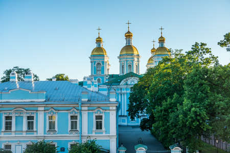 St. Nicholas Naval Cathedral under sunset, a major Baroque Orthodox cathedral in the western part of Central Saint Petersburg