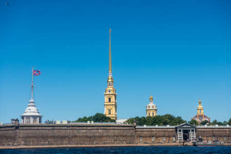The Peter and Paul Fortress,  the original citadel of St. Petersburg, Russia, founded by Peter the Great in 1703 and built to Domenico Trezzini's designs from 1706 to 1740 as a star fortress.