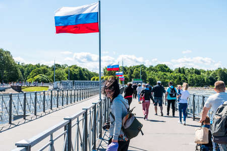 Tourists at the port of the summer palace of peter the great in Saint Pertersburg, Russia. Editoriali