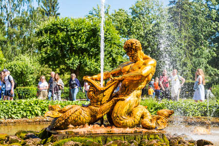 The famous Oranzhereiny Fountain at  the summer palace of peter the great in Saint Pertersburg, Russia.