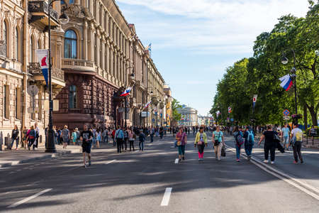 Street view of old town of St Petersburg, Russia at the ball day of high school students Celebrating Graduation Editoriali