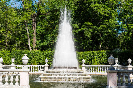 Pyramid Fountain located at the Peterhof gardens, the summer palce of the Peter the great in Saint Petersburg, Russia. Editoriali