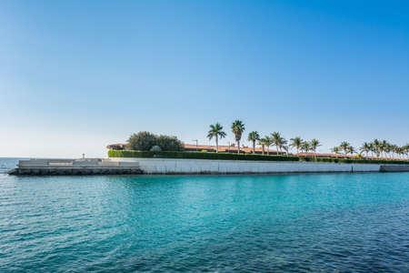 Luxury villa with palm trees in the resort of Jeddah Corniche, 30 km coastal resort area of Jeddah city with coastal road, recreation areas, pavilions in Jeddah, Saudi Arabia Stock Photo