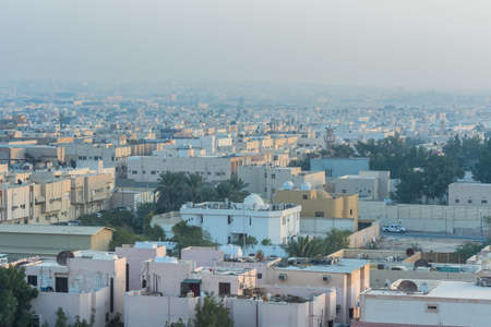 Aerial view of dawn of Riyadh with building rooftops