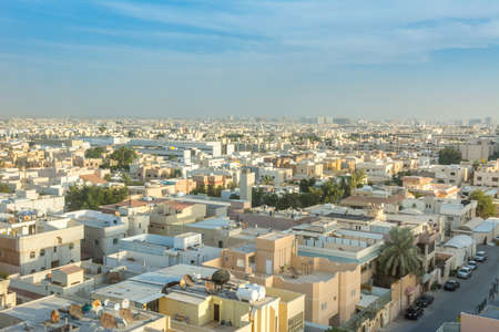 Aerial view of Riyadh with buildings and skylines in the downtown of Riyadh, Saudi Arabia
