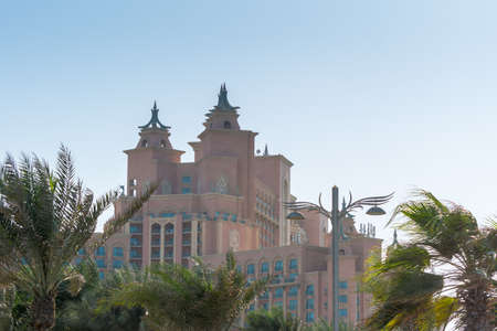 Atlantis Hotel, a luxury hotel resort located at the apex of the Palm Jumeirah island in Dubai of the United Arab Emirates.