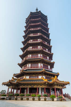 A Chinese traditional Buddha tower in the Putuoshan, Zhoushan Islands, a renowned site in Chinese bodhimanda of the bodhisattva Avalokitesvara (Guanyin)