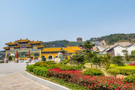Chinese traditional colorful Baotuo lecture temples in the Putuoshan mountains, Zhoushan Islands, a renowned site in Chinese bodhimanda of the bodhisattva Avalokitesvara (Guanyin)