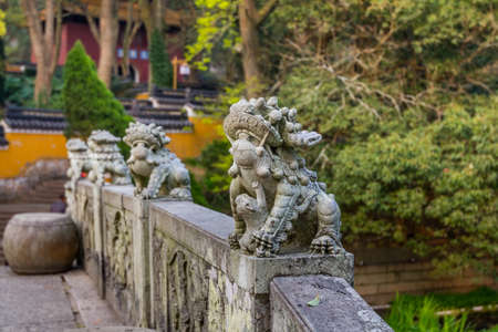 Animal statue on the handrail of the bridge to Fayu temple in the Putuoshan mountains, Zhoushan Islands, a renowned site in Chinese bodhimanda of the bodhisattva Avalokitesvara (Guanyin)