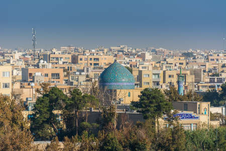 Aerial view of residential building skyline with blue tome of Lonban Mosque of Isfahan of Iran, one of the most famous historic city in the middle east. Stock fotó