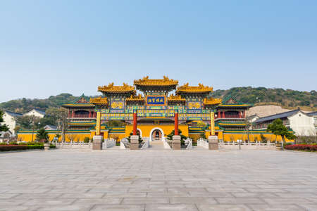 Chinese traditional royal style colorful Baoxiang lecture temples in the Putuoshan mountains, Zhoushan Islands, a renowned site in Chinese bodhimanda of the Guanyin