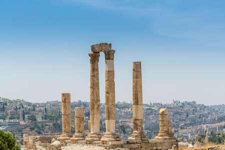 Column runis of the Temple of Hercules in the Amman Citadel, a historical site at the center of downtown Amman, Jordan. Known in Arabic as Jabal al-Qal'a, one of the seven jabals (mountains) that originally made up Amman