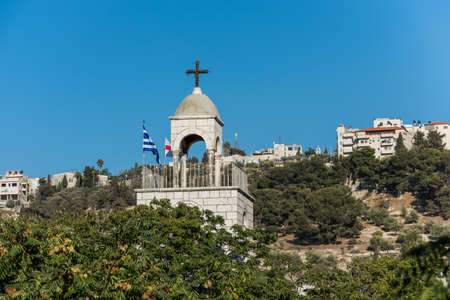 Top of the Greek Orthodox Church of St. Stephen, or The St. Stephen's Basilica, a Catholic church, located in the Kidron Valley or King's Valley, outside the walls of the Old City of Jerusalem,