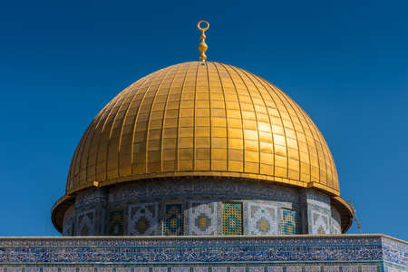 Close-up of Golden Dome of the Rock on Temple Mount of Old City of Jerusalem, Israel. One of the oldest extant works of Islamic architecture