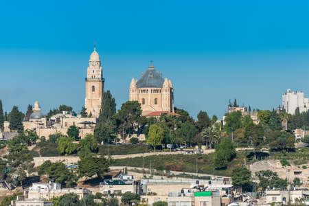 Historic buildings and Abbey of the Dormition, an abbey and the name of a Benedictine community in Jerusalem on Mount Zion, View from Mount of Olives.