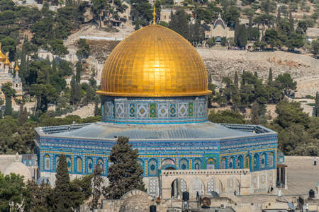 The Dome of the Rock, Qubbat al-Sakhra, an Islamic shrine located on the Temple Mount in the Old City of Jerusalem. Aerial view from the Lutheran Church of the Redeemer