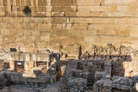 Ruins and remains next to the western wall and Al-Aqsa Mosque in the Old City of Jerusalem, the third holiest site in Islam. built on top of the Temple Mount, known as Haram esh-Sharif in Islam.