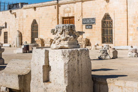 Ruins and remains of columns next to the Al-Aqsa Mosque located in the Old City of Jerusalem, the third holiest site in Islam. built on top of the Temple Mount, known as Haram esh-Sharif in Islam.