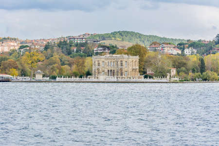 Goksu Palace (Littlewater Pavilion, Kucuksu Kasri) at the bank of the Bosphorus strait in Istanbul Turkey from ferry on a sunny day with background cloudy sky
