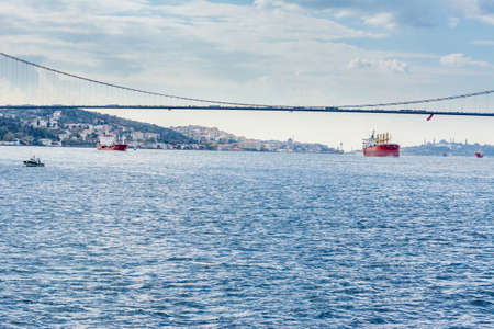 The Bosphorus Bridge, or 15 July Martyrs Bridge, one of the three suspension bridges spanning the Bosphorus strait, in Istanbul, Turkey
