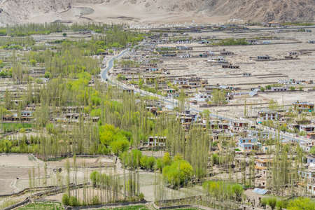 Beautiful landscape with river delta, Tibetian buildings and green trees in Ladakh, Kashmir, view from Thiksey Monastery or Thiksey Gompa.