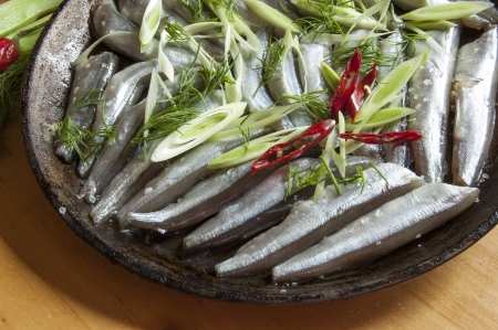 The process of cooking fish. Fresh fish on an old frying pan. Horizontal image, macro. photo