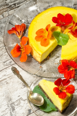 Pumpkin cheesecake decorated with fresh flowers. From the series Pumpkin Cheesecake photo