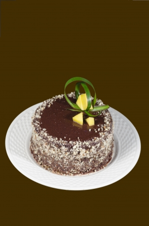French chocolate cakedecorated with green leaf and slices of mango on brown background. From the series French Desserts photo