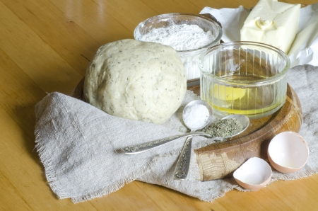 Ingredients for the dough: eggs, flour, oil, salt. From series Cooking vegetable pie photo