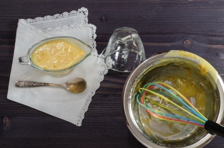 Process cooking cream From series French Desserts photo