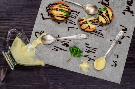 Tartlets with lemon cream and mint From series French Desserts photo