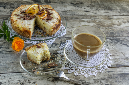 Cake with coconut and ricotta cheese. photo