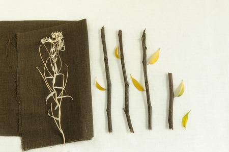 hojas secas: Materiales naturales: ramas y hojas secas en la servilleta de lino Fondo simple para la tarjeta de felicitaci�n