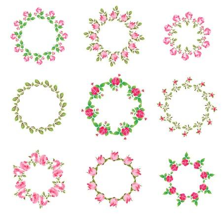 textil: Set rose floral ornate round frames. Vector illustration. Best  for your design of celebration postcard, textil, web