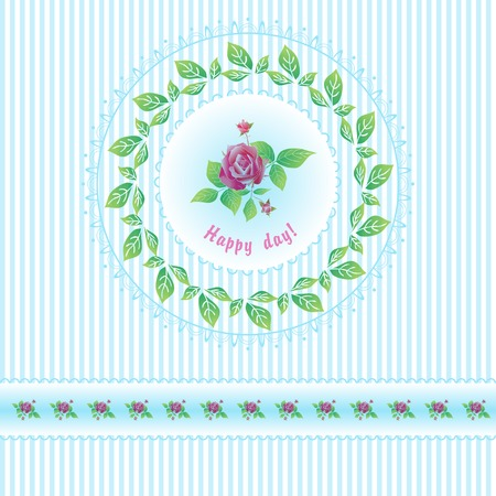 Beautiful roses post card for holiday Perfect for design fabric scrapbook album Illustration