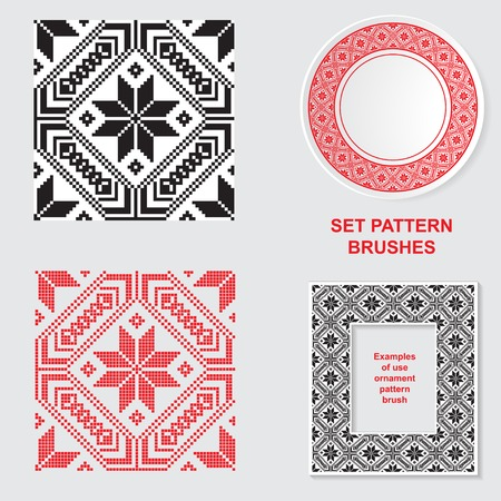 Set of Ethnic ornament pattern brushes and examples of use . Vector