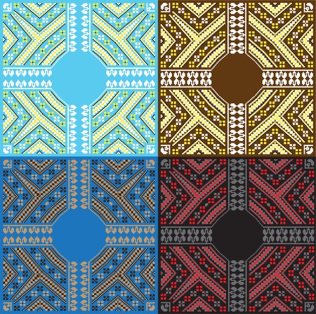 baltic: Set of Ethnic Baltic ornament pattern in different colors. Vector illustration. From collection of Balto-Slavic ornaments Illustration
